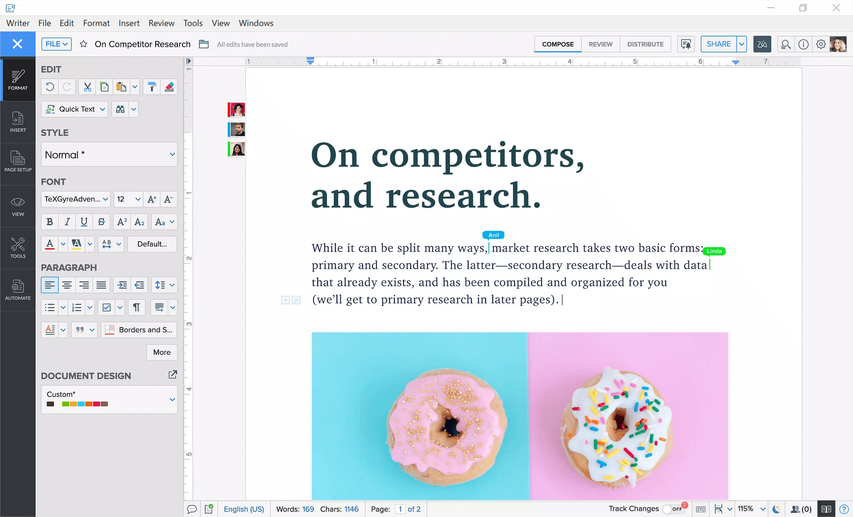 Put your thoughts into words, share documents with your team conveniently using Zoho Writer